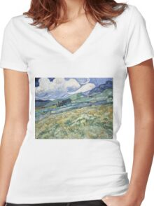 Vincent Van Gogh landscapes from Saint-Remy Women's Fitted V-Neck T-Shirt