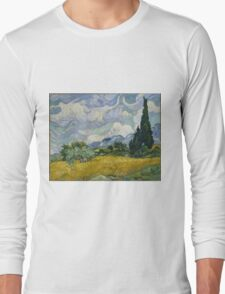 Vincent Van Gogh wheat field with cypresses Long Sleeve T-Shirt