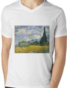 Vincent Van Gogh wheat field with cypresses Mens V-Neck T-Shirt