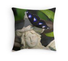 ''Butterfly on Garden Ornament'' Throw Pillow