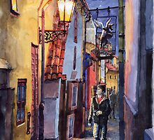 Prague Old Street Golden Line  by Yuriy Shevchuk