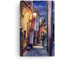 Prague Old Street Golden Line  Canvas Print