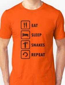 Snake Lovers Funny Shirt Eat Sleep Snakes Repeat  T-Shirt