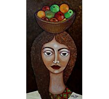 Big-eyed woman with fruits Photographic Print