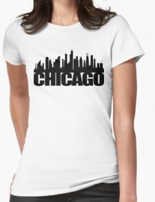 Chicago Skyline - black Womens Fitted T-Shirt