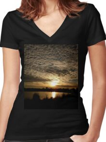 Sunrise Serenity Women's Fitted V-Neck T-Shirt