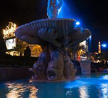 It's Not Rome - Triton Fountain Las Vegas at Night by Georgia Mizuleva