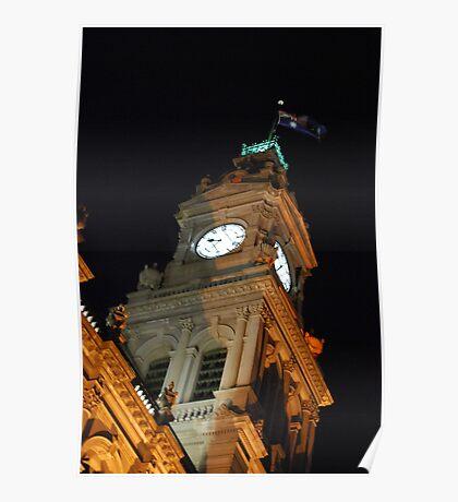Bendigo Clock Tower at night. Poster
