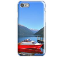 An old model wooden red boat on Lake Rotoiti in New Zealand 1 iPhone Case/Skin