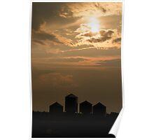 Grain bins silhouette Poster