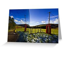 Red phonebooth and Scottish landsape reflecting in a convex mirror Greeting Card