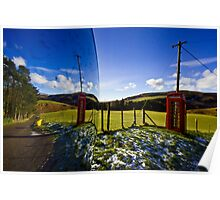 Red phonebooth and Scottish landsape reflecting in a convex mirror Poster