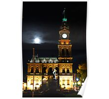 Bendigo's Post Office at night. Poster