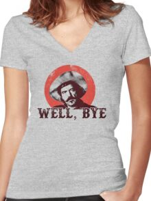 Well Bye in black stencil Women's Fitted V-Neck T-Shirt