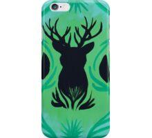 Deer Head Silhouette on Green iPhone Case/Skin