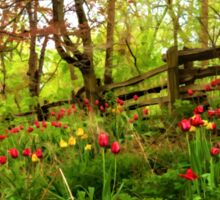 Fresh and Colorful Hillside - Impressions Of Spring Sticker
