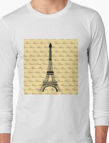 Eiffel Tower Paris on Pale Yellow Long Sleeve T-Shirt