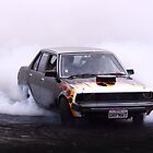 Japanese car powered by a V8 doing a burnout by steve37