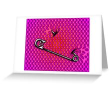 Sookie Skull Safety Pin Purple and Pink Greeting Card