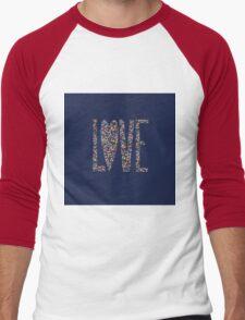 Love Flowers Floral Design Men's Baseball ¾ T-Shirt