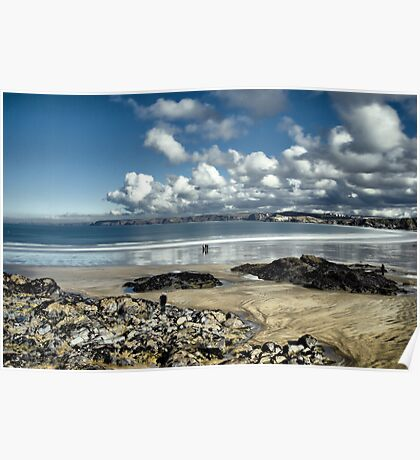 Beach and clouds, Newquay Poster