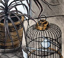 birdcage and plant by Emma Brooks