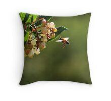 Bee in flight. Throw Pillow
