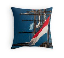 Moon Rise over the Rigging Throw Pillow