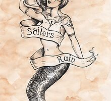 Sailors Ruin, Vintage mermaid tattoo style by Isobel Von Finklestein