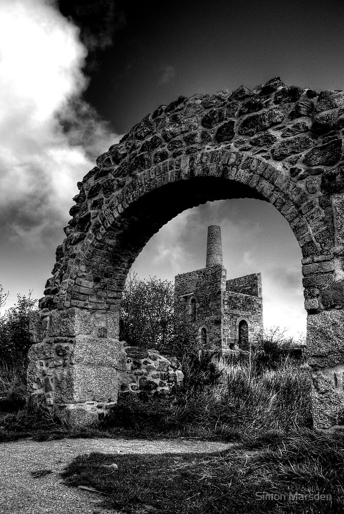 Wheal Peevor Mine Redruth Cornwall B&W - Cornish mine  by Simon Marsden