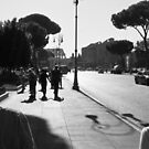 Tourists Walking Towards the Colosseum by Phill Danze