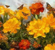 Marigolds and Butterflies by CarolM