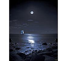 Sailing Ship On A Moonlit Bay Photographic Print