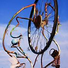 Bicycle wheel sculpture as pseudo oil painting by Susan Leonard