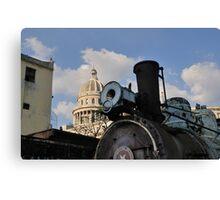 Old steam train & Capitolio, Cuba Canvas Print