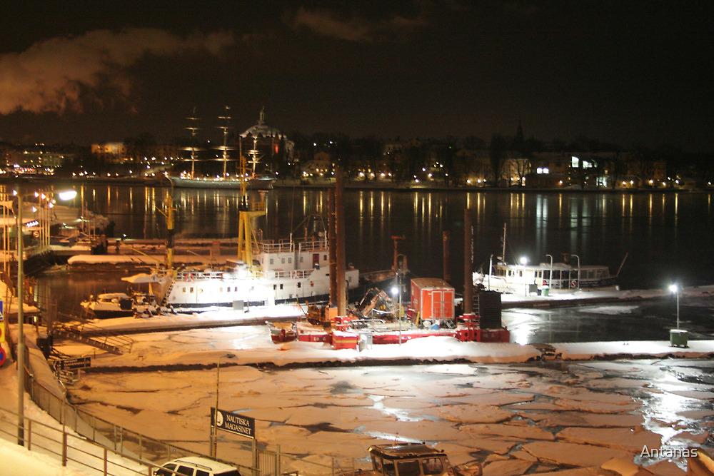 Night harbor (Stockholm, Sweden) by Antanas