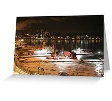 Night harbor (Stockholm, Sweden) Greeting Card