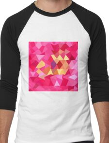 Brink Pink Abstract Low Polygon Background Men's Baseball ¾ T-Shirt