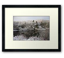 Snowy Lake Scene Framed Print