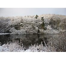 Snowy Lake Scene Photographic Print