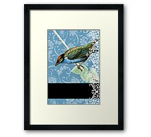 Antique Bird on Blue Damask and Lace Framed Print