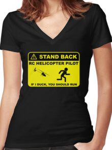RC Helicopter Pilot - Stand Back Women's Fitted V-Neck T-Shirt