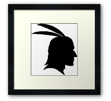 Native American Indian Man, Silhouette Framed Print