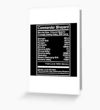 Mass Effect - Shepard Stats Greeting Card