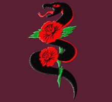 Snake with roses tatTee Unisex T-Shirt