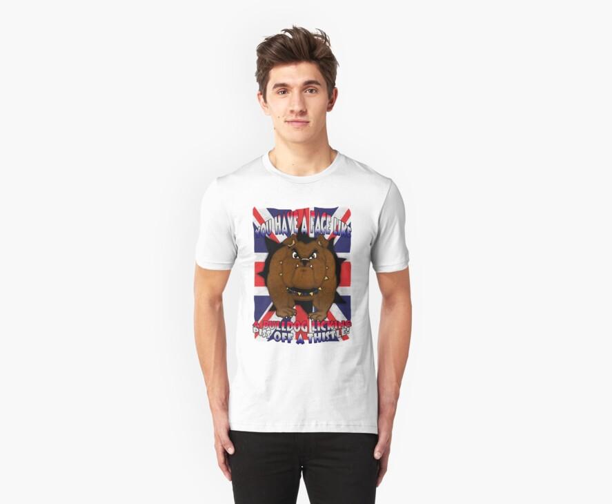 Union Jack And Bulldog T Shirt With Profanity by Moonlake