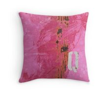 Trashed, scratched, rusted and dented - Q 14 Pink Throw Pillow