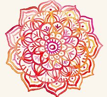 Watercolor Medallion in Sunset Colors by micklyn