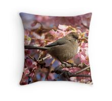 A Bushtit and Her Domain of Pink Throw Pillow