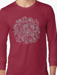 Jacobean-Inspired Light on Dark Grey Floral Doodle Long Sleeve T-Shirt